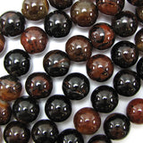 16mm black brown agate round beads 15