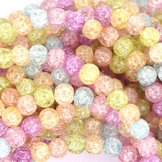 "6mm multicolor crack crystal round beads 15.5"" strand"