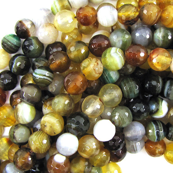 "8mm faceted light brown stripe agate round beads 7.5"" strand"