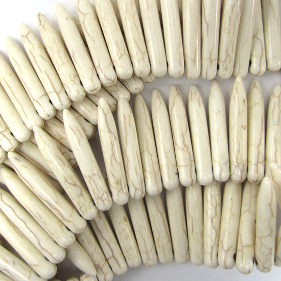 "30mm white turquoise stick needle spike beads 16"" strand"