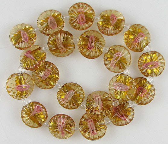 "17mm flower glass coin disc beads 14.5"" strand"