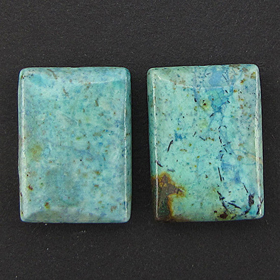25mm chrysocolla rectangle pendant 2 beads