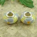 2 sterling silver lampwork glass beads fit 0211