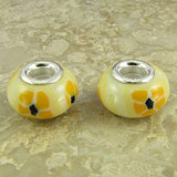 2 sterling silver lampwork glass beads fit 0223