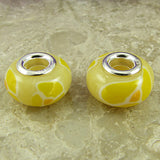 2 sterling silver lampwork glass beads fit 0226