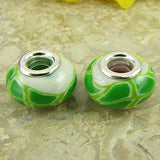 2 sterling silver lampwork glass beads fit 0228