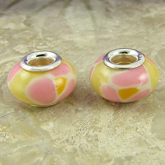 2 sterling silver lampwork glass beads fit 0233