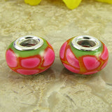 2 sterling silver lampwork glass beads fit 0242