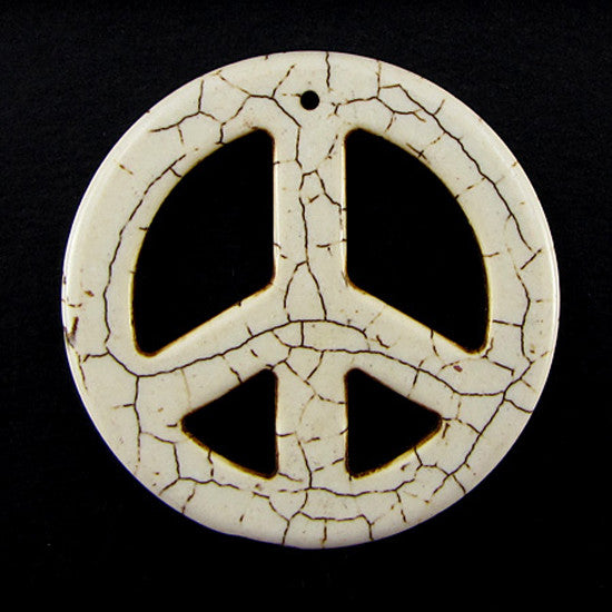 54mm white turquoise peace sign coin disc pendant bead