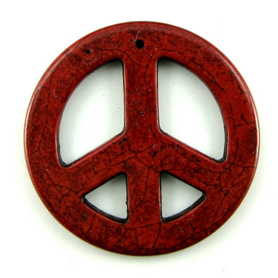 54mm red turquoise peace sign coin disc pendant bead