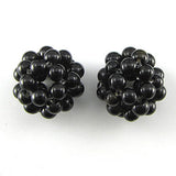 17mm black obsidian round ball pendant bead 2pcs