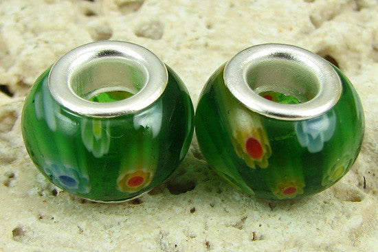 2 silver plated lampwork glass beads fit 1088 findings