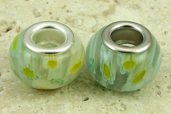 2 silver plated lampwork glass beads fit 1097 findings