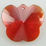 25mm faceted CZ cubic zirconia buttefly pendant red