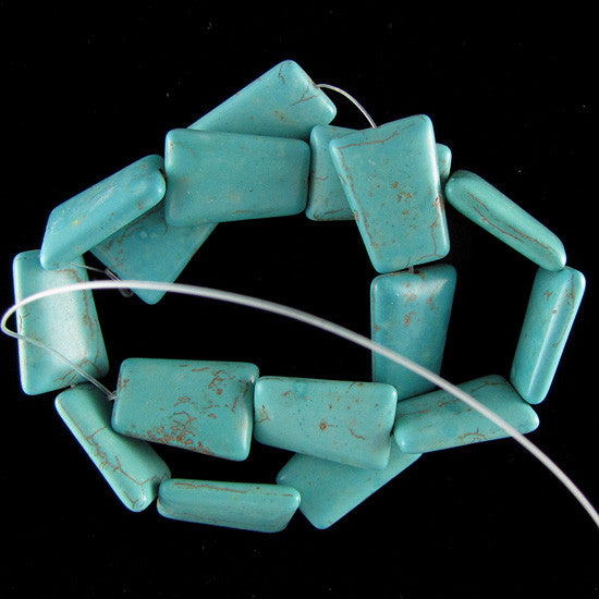 "25mm blue turquoise ladder beads 16"" strand"