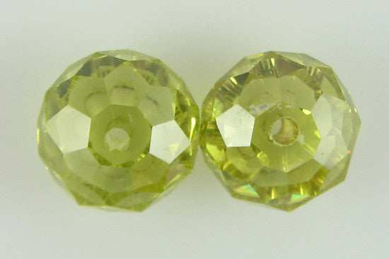 2 12mm faceted CZ cubic zirconia rondelle beads olivine