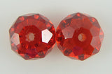 2 12mm faceted CZ cubic zirconia rondelle beads red