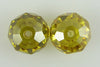 2 12mm faceted CZ cubic zirconia rondelle beads citrine