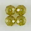 4 10mm faceted CZ cubic zirconia rondelle beads citrine