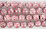 16mm pink rhodochrosite round beads 2pcs