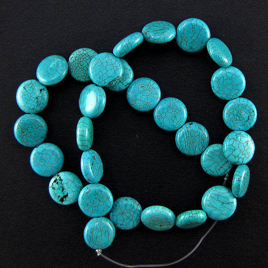 "14mm blue turquoise coin disc beads 16"" strand"