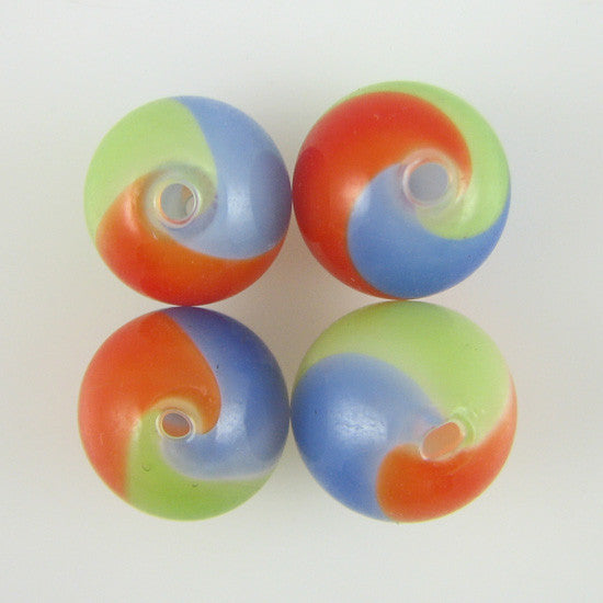 13mm multicolor blown hollow glass round beads 4pcs