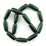 30mm dark green turquoise barrel beads 16