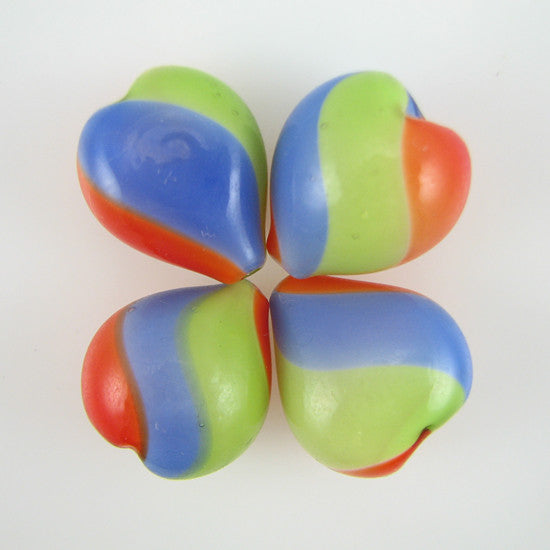 21mm multicolor blown hollow glass heart beads 4pcs