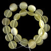 15mm cream fiber optic cats eye coin beads 15