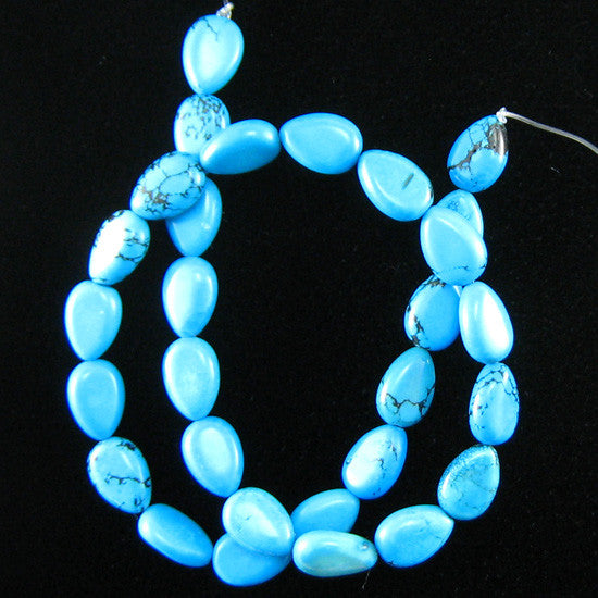 "13mm blue turquoise flat teardrop beads 16"" strand L/D"