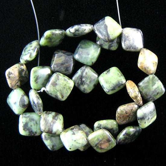"14mm green jasper diamond beads 16"" strand"
