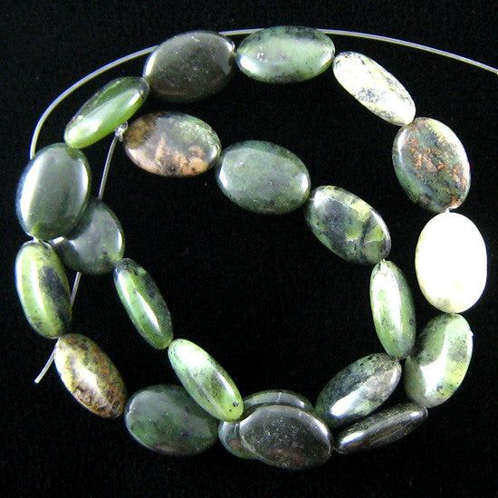"18mm green jasper flat oval beads 16"" strand"