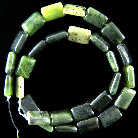 "14mm Canada jade rectangle beads 16"" strand"