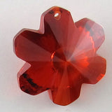 20mm faceted CZ cubic zirconia flower pendant red