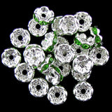 25 8mm silver plated rhinestone rondelle beads peridot findings