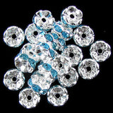 25 8mm silver plated rhinestone rondelle beads L. blue findings