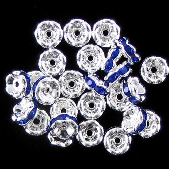 25 6mm silver plated rhinestone rondelle beads sapphire findings