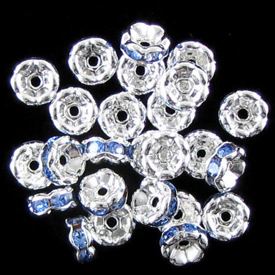 25 6mm silver plated rhinestone rondelle beads blue findings