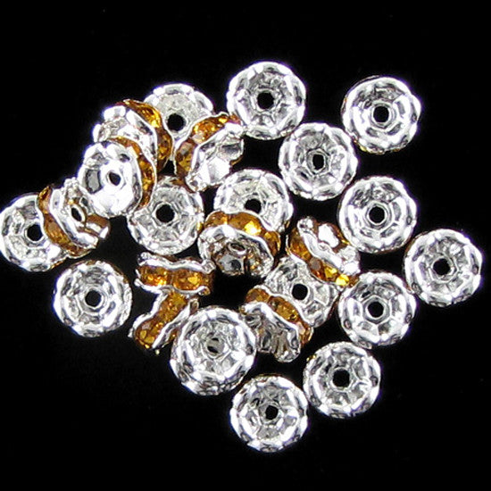 25 6mm silver plated rhinestone rondelle beads topaz findings