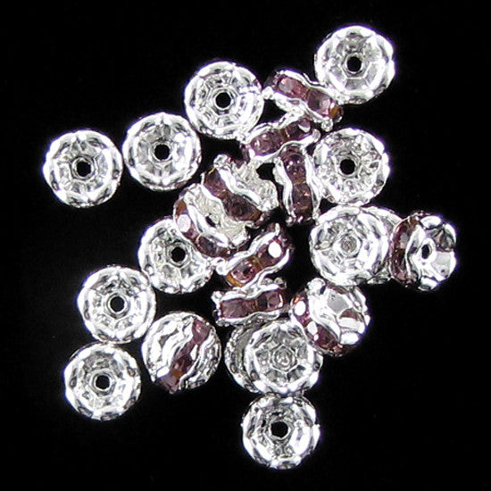 25 6mm silver plated rhinestone rondelle beads purple findings