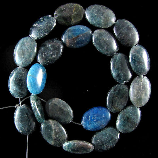 "17mm blue apatite flat oval beads 15.5"" strand"