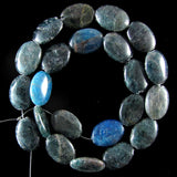 17mm blue apatite flat oval beads 15.5