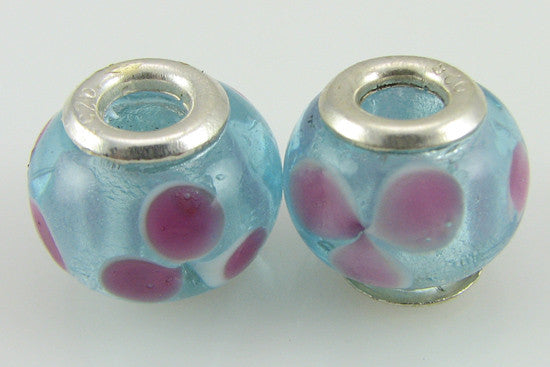 2 sterling silver lampwork glass beads fit 4414