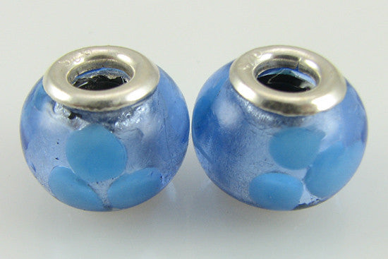 2 sterling silver lampwork glass beads fit 4418
