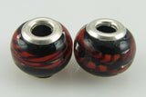 2 sterling silver lampwork glass beads fit 4420