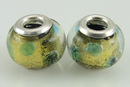 2 sterling silver lampwork glass beads fit 4422