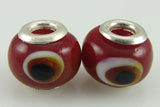 2 sterling silver lampwork glass beads fit 4426