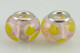 2 sterling silver lampwork glass beads fit 4433