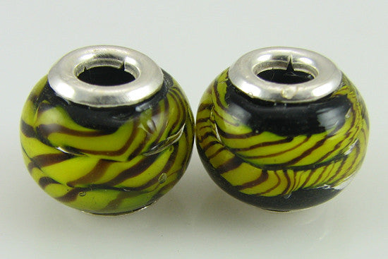 2 sterling silver lampwork glass beads fit 4439