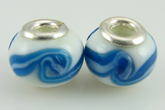 2 sterling silver lampwork glass beads fit 4447